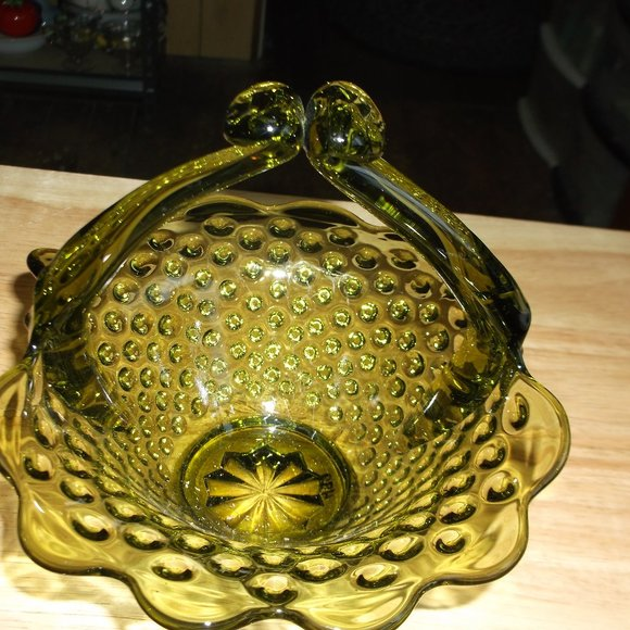 vintage green glass hobnail candy dish